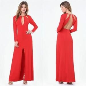 Bebe buckle trim open back red gown/dress